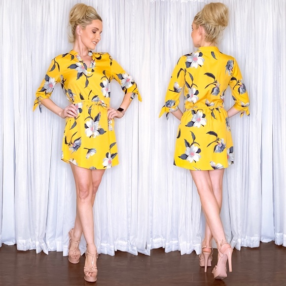 Blush Dresses & Skirts - Yellow Floral Mini Dress with Sleeves